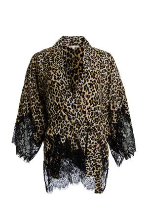 The Coco Animal Print Silk Kimono in mocca leopard animal print.