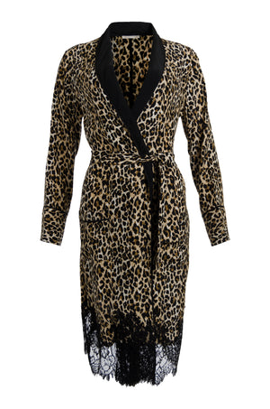 The Coco Animal Print Silk Duster in mocca leopard animal print.