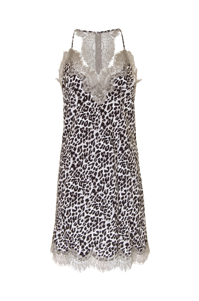 The Animal Print Racerback Silk Dress in grey leopard print.