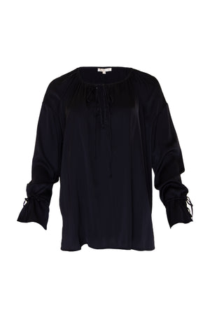 The Pleasant Wrap Front Tie Top in black.