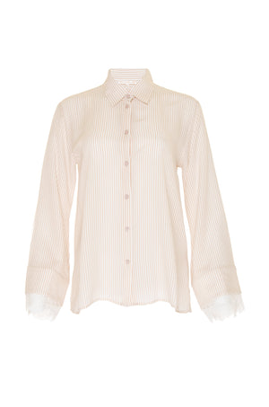 The Stripe Lace Long Sleeve Shirt in nude.