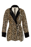 The Animal Print Velvet Ginger Robe Blazer in mocca leopard print.