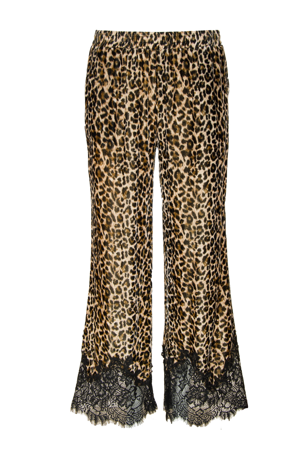 The Animal Print Velvet Ginger Lace Pants in mocca leopard print.