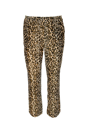 The Animal Print Velvet Ginger Piping Pants in mocca leopard print.