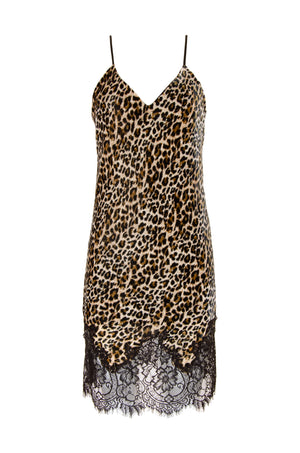 The Animal Print Velvet Ginger Slip Dress in mocca leopard animal print.