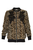 Animal Print Velvet Ginger Bomber Jacket