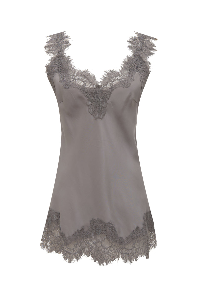 The Megan Camisole in muted rose with black lace.