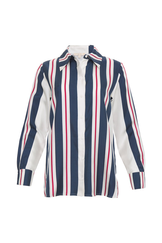 The Bold Stripe Shirt in navy.