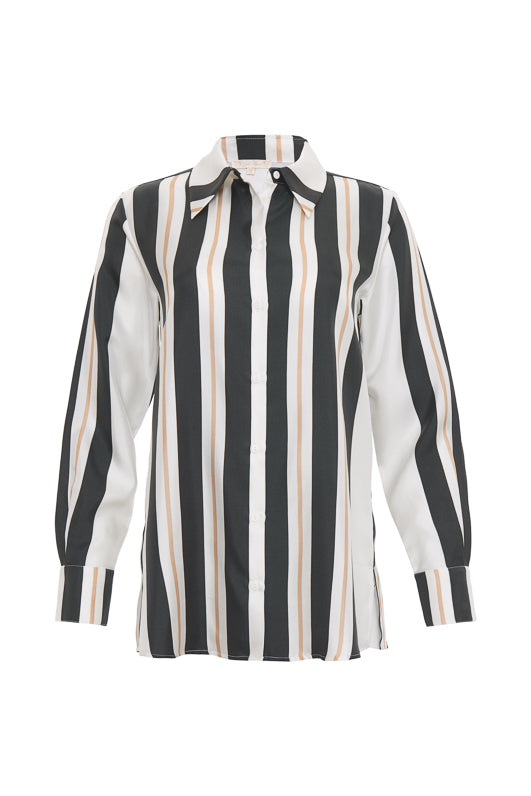 The Bold Stripe Shirt in black.