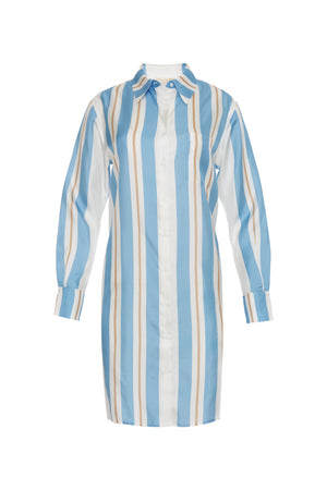 The Bold Stripe Sleeve Dress in baby blue.