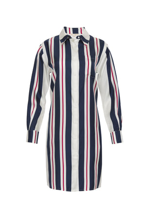 The Bold Stripe Sleeve Dress in navy.