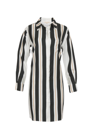The Bold Stripe Sleeve Dress in black, shown without sash.