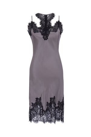 The Zoe Coco Dress in steeple grey with black lace.