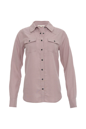 The Tencel Western Shirt in muted rose.