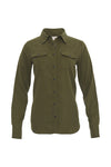 The Tencel Western Shirt in dark olive.