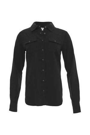 The Tencel Western Shirt in black.