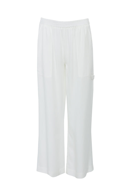 The Tencel Cargo Wide Leg Pant in bright white.