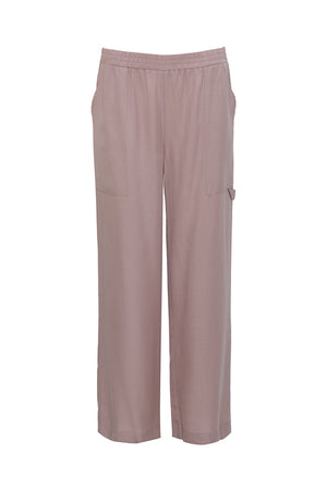 The Tencel Cargo Wide Leg Pant in muted rose.