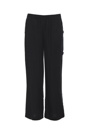 The Tencel Cargo Wide Leg Pant in black.