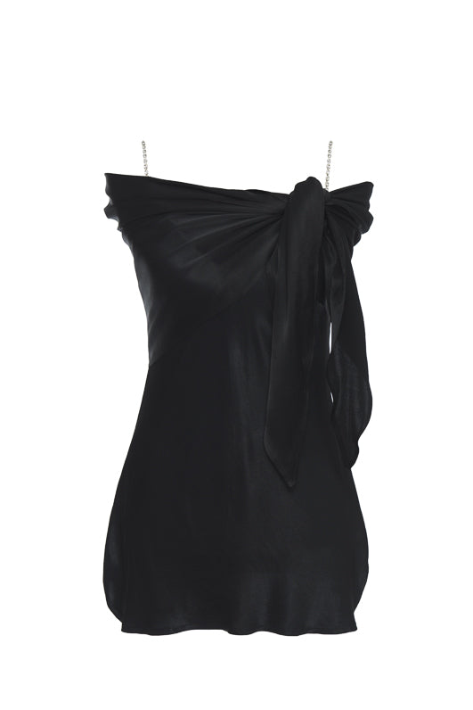 The Aimee Camisole in black, with matching sash tied around the shoulders.
