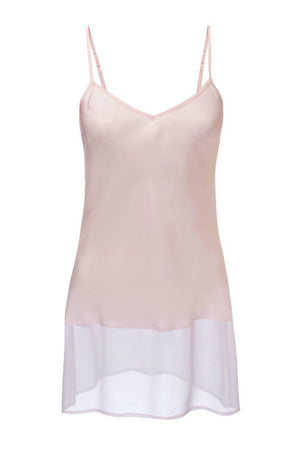 The Sheer Edge Silk Tunic in pale mauve; front view.