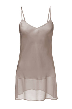 The Sheer Edge Silk Tunic in taupe.