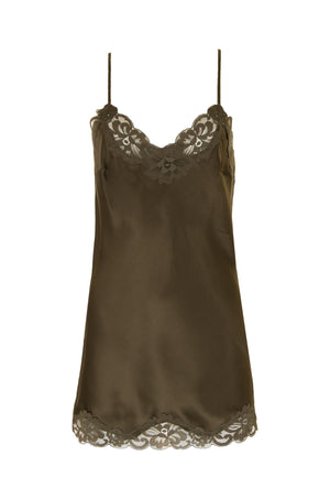 The Floral Lace Silk Tunic in olive.