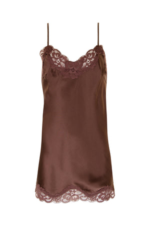 The Floral Lace Silk Tunic in chocolate.