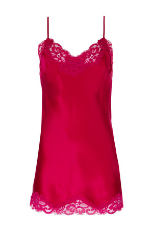 The Floral Lace Silk Tunic in fuchsia.