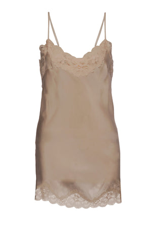 The Floral Lace Silk Tunic in camel.