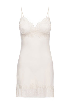 The Vintage Lace Silk Slip Dress in french vanilla.