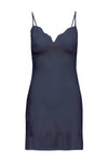 The Vintage Lace Silk Slip Dress in navy.