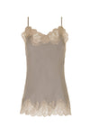 The Marilyn Lace Silk Cami in steeple grey with birch lace.