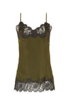 The Marilyn Lace Silk Cami in olive with pewter lace.