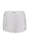 The Classic Lace Modern Silk Shorts in white.