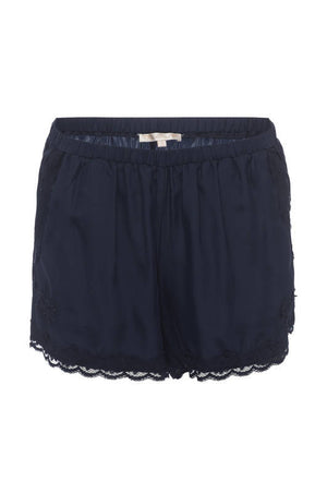 The Classic Lace Modern Silk Shorts in navy.