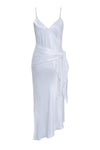 The Aimee Slip Dress in bright white with matching sash worn wide at the hips.