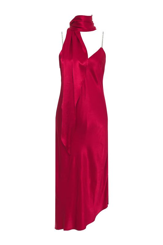The Aimee Slip Dress in fiery red with matching sash worn as scarf.