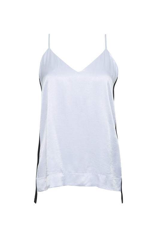 The Hayley Camisole in bright white with black stripe on sides.