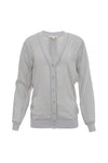 The Stretch Rib Cardigan in ice grey.