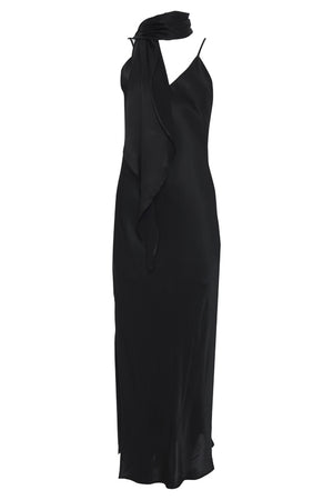 The Hayley Long Slip Dress in black with matching sash worn as scarf.