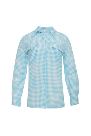 The Anne Marie Shirt in baby blue/off white.