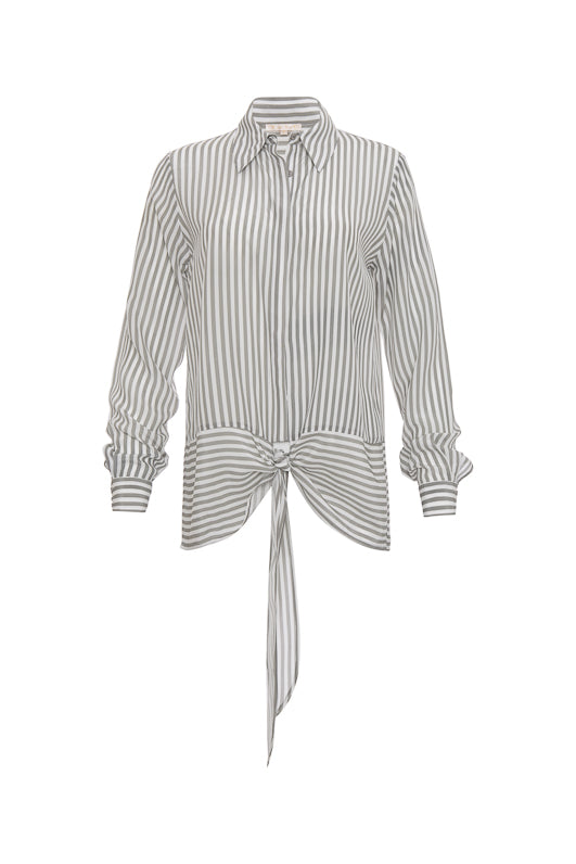 The Mini Stripe Shirt in steeple grey.
