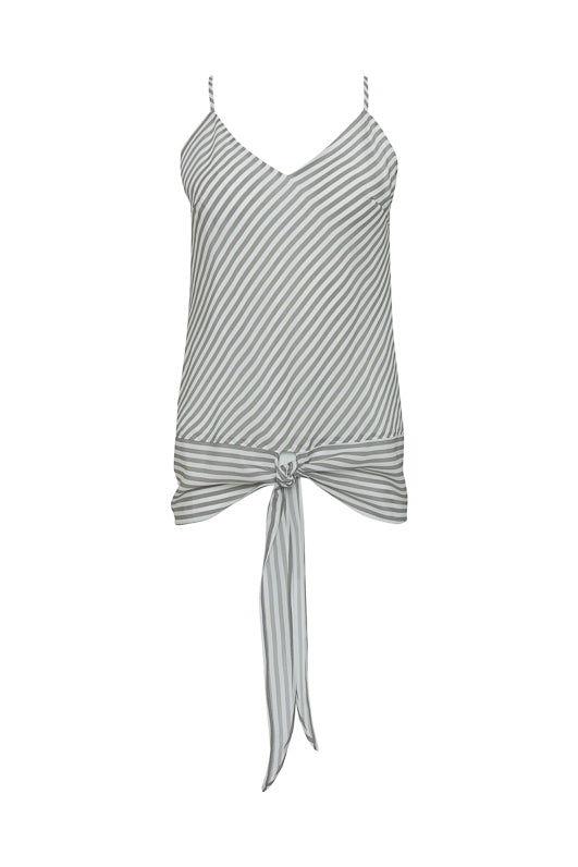 The Mini Stripe Camisole in steeple grey.