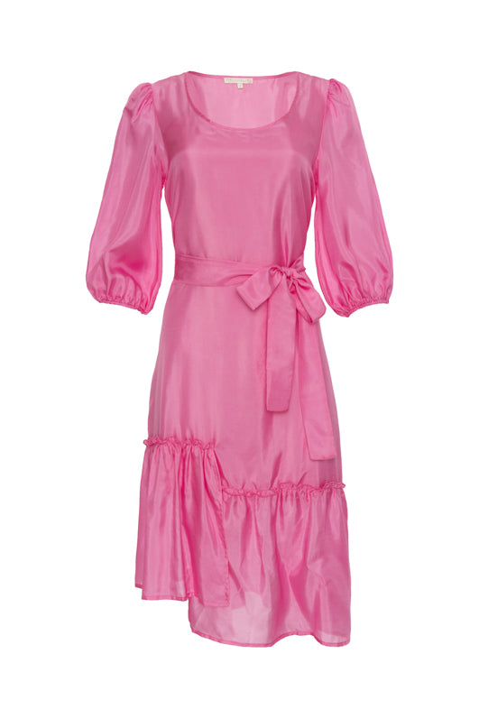The Maine Peasant Dress in rose; shown with matching sash tied around the waist.