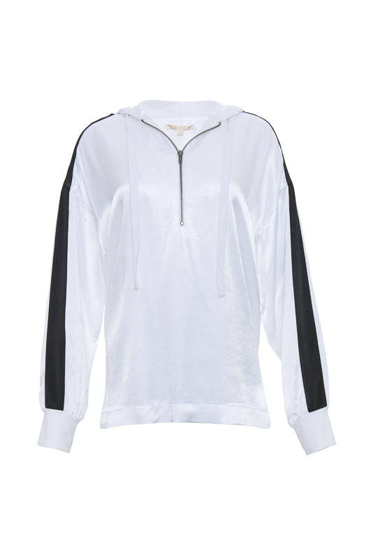 The Hayley Hoodie Top in bright white with black sleeve stripes.