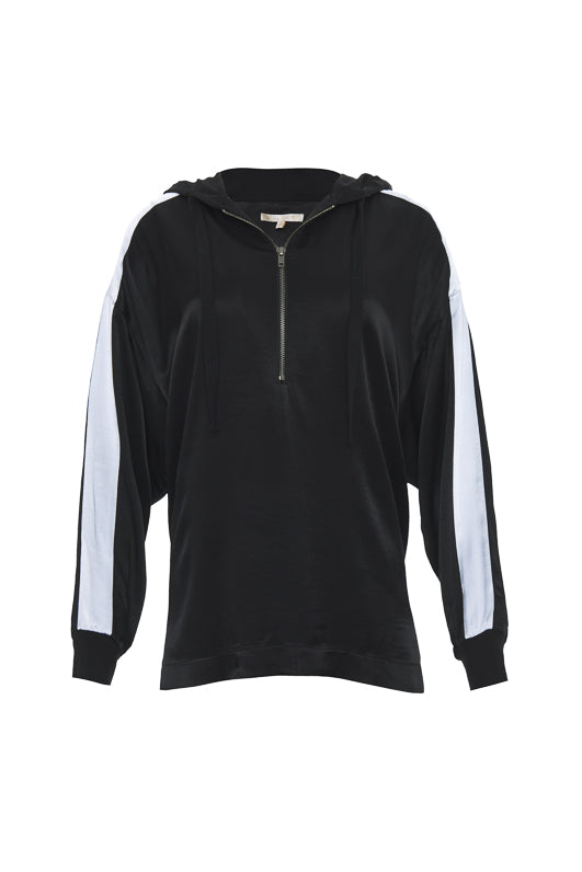 The Hayley Hoodie Top in black with bright white sleeve stripes.