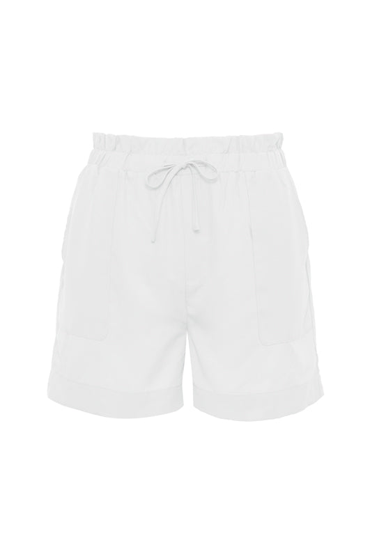 The Tencel Paperbag Short in bright white.