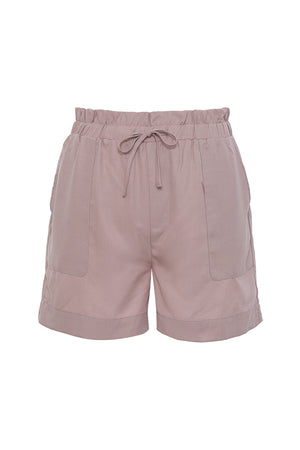 The Tencel Paperbag Short in muted rose.