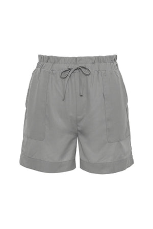 The Tencel Paperbag Short in steeple grey.